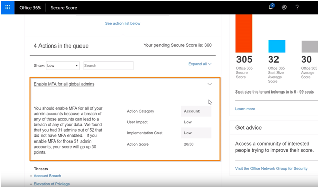 Microsoft Security Score highlighting a description of a risk that the Action is attempting to mitigate.