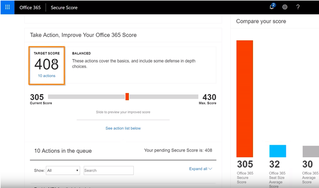 Microsoft Security Score Highlighting the slider to different levels: Basic, Balanced, and Aggressive